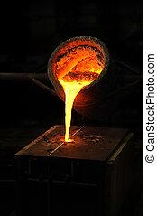 模具, 扔, 丢失, 杓子, 铸造厂, -, 金属, 到出, 蜡, 熔铸