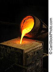 模具, 鑄件, 丟失, 杓子, 鑄造廠, -, 金屬, 倒, 蜡, 熔化