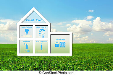 模型, 在中, the, 房子, 带, a, 聪明, 家, 系统, 内部, 在上, a, 背景, 在中, 绿色的草, 同时,蓝色, 天空