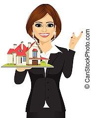 模型, 握住, 房子, businesswoman