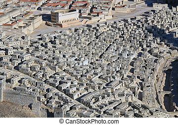 模型, ......的, 古老, 耶路撒冷, 聚焦, 上, 上面, 城市, 家
