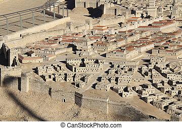 模型, ......的, 古老, 耶路撒冷, 聚焦, 上, the, 上面, 城市