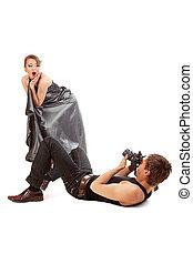 模型, photographer., 年輕, 女的成人