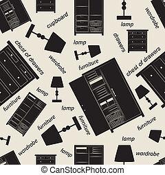 模式, 寝室, seamless, 家具