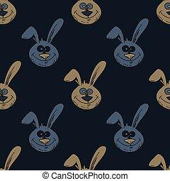 模式, 微笑, seamless, 兔子, 脸