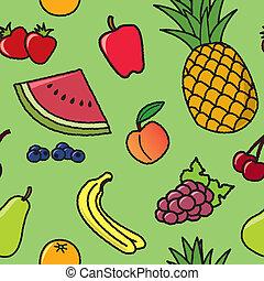 模式, 水果, seamless, 卡通漫画