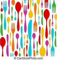 模式, 白色, 刀叉餐具, 色彩丰富
