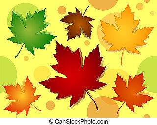 模式, 离开, seamless, 颜色, 落下, 枫树