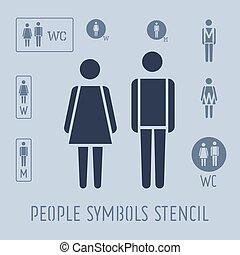 模板, 人们, set., pictogram, 女性, 男性的洗手间, 图标