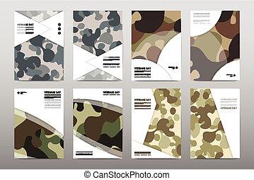 模板, 美麗, 集合, 布局, 海報, 天, 卡其布, 設計, 小冊子, 退伍軍人, style.