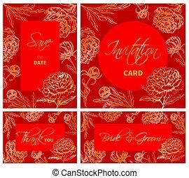 模板, 集合, 牡丹, 手, 婚禮, 畫, 花