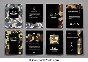 模板, 風格, 集合, 海報, 設計, 小冊子, 天的老戰士