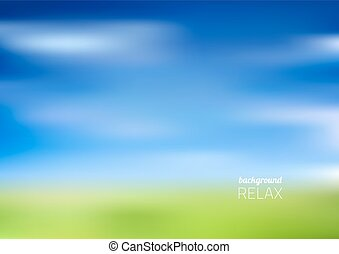 模糊, 綠色的領域, 以及藍色, 天空