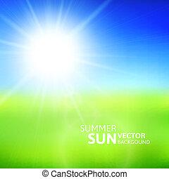 模糊, 綠色的領域, 以及藍色, 天空, 由于, 夏天, 太陽