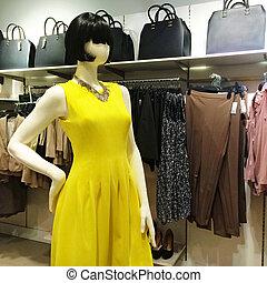 模造, 中に, 黄色のドレス
