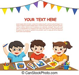 樣板, 孩子, 玩, 愉快, 背, school., 藝術, concept., 畫, 創造性, 素描, 享樂, 小冊子, 白色, 背景。, class., 做廣告, 教育