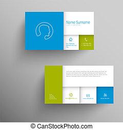 樣板, 生意藍色, 卡片, 現代, 綠色