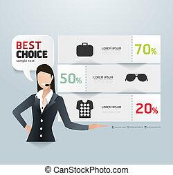 樣板, 編號, 使用, 銷售, 線, 促進, infographics, /, 矢量, 標簽, 網站, cutout, ...