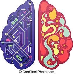 権利, カラフルである, イメージ, 象徴的, 脳, 左