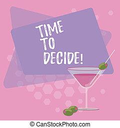 権利, カラー写真, いくつか, 印, 縁, ブランク, 作りなさい, ∥間に∥, 概念, 満たされた, カクテル, 選択肢, 提示, space., 選択, ガラス, 瞬間, オリーブ, decide., テキスト, 時間, ワイン
