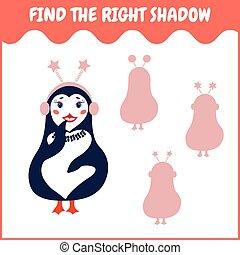 権利, ファインド, 幼稚園, shadow., ゲーム, 教育, kids.