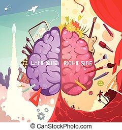 権利, ポスター, 側, 脳, 漫画, 左