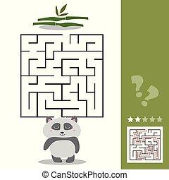 権利, 助け, -, 空腹, 解決, パンダ, ゲーム, 彼の, 方法, 迷路, 竹, ファインド