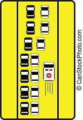 権利, 弾力性, 自動車, 印, 交通, 方法, 助言しなさい, ambulance.