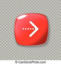 権利, button., イラスト, ベクトル, グロッシー, 矢, icon., 赤