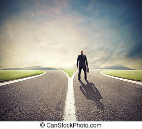 権利, crossway, 方法, 前部, ビジネスマン, 選り抜き, 不可欠