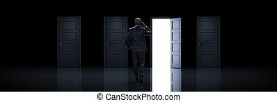 権利, door., レンダリング, 選択, ビジネスマン, 3d