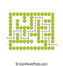 権利, illustration., conundrum., 色, 困惑, labyrinth., ゲーム, ベクトル, children., 迷路, path., ファインド, kids., abstact