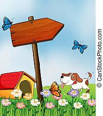 ∥横に∥, 犬, 犬小屋, arrowboard