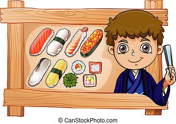 ∥横に∥, 男の子, フレーム, 寿司, おいしい