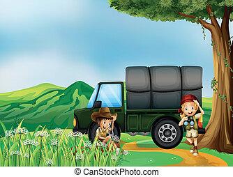 ∥横に∥, 男の子, 女の子, 緑, トラック