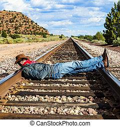 横切って, 軌道に沿って進む, 列車