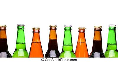 横列, から, ビール, bottles.