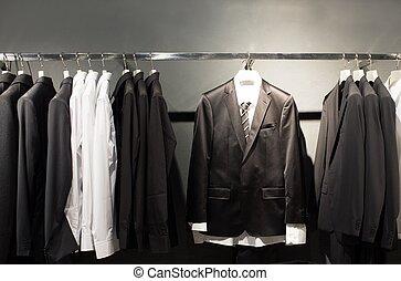 横列, の, スーツ, 中に, 店