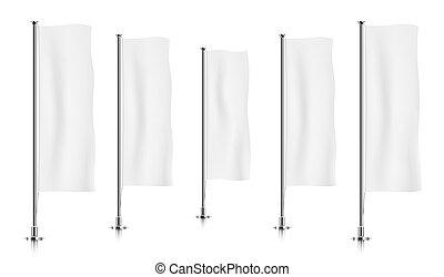 横列, の, 白, 縦, 旗, flags.
