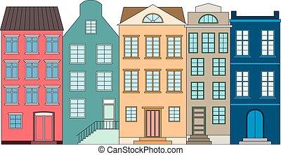 横列, の, 色, 家, ベクトル, イラスト