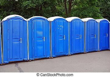 横列, の, 青, 公共のトイレ, 中に, モスクワ, 公園