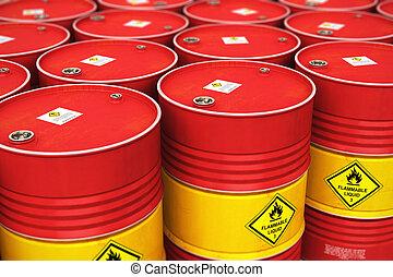 横列, グループ, 貯蔵, オイルドラム, 倉庫, 積み重ねられた, 赤