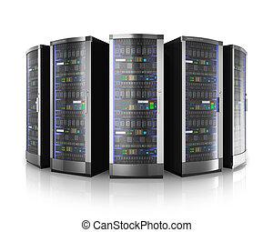 横列, サーバー, データ, ネットワーク, 中心