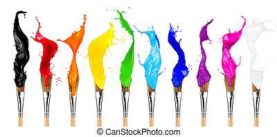 横列, ペイントブラシ, カラフルである, 色, はね返し