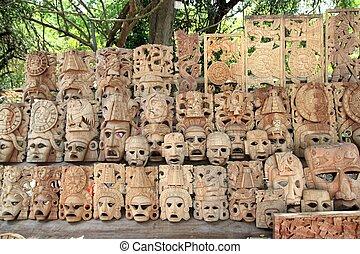 横列, メキシコ\, mayan, マスク, handcraft, 木, 顔