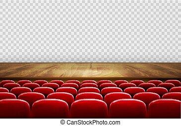 横列, 劇場, 映画館, ∥あるいは∥, バックグラウンド。, ベクトル, 席, 前部, 透明, 赤