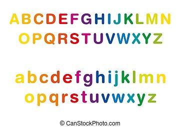 横列, 場合, アルファベット, 有色人種, 虹, より低い, 上部
