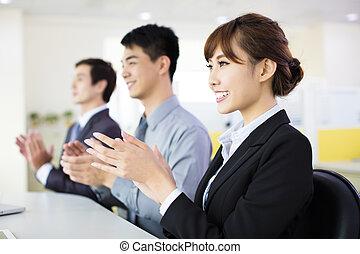 横列, 拍手喝采する, 人々ビジネス, モデル