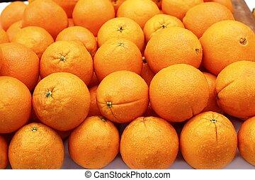 横列, 積み重ねられた, 成果, オレンジ, 取り決められた, 市場