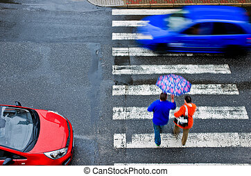 横断歩道, ∥で∥, 自動車